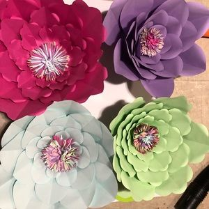 4 large paper flowers
